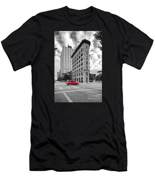 Black And White Photograph Of The Flatiron Building In Downtown Fort Worth - Texas Men's T-Shirt (Athletic Fit)
