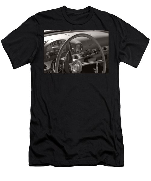 Black And White Thunderbird Steering Wheel  Men's T-Shirt (Athletic Fit)