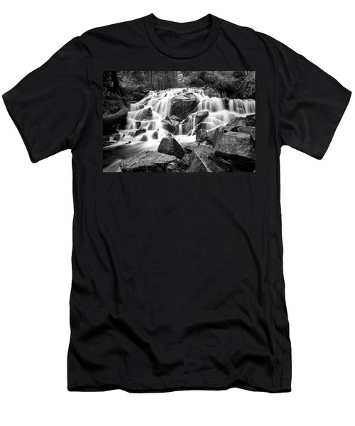 Black And White Waterfall In Lee Vining Canyon Men's T-Shirt (Athletic Fit)