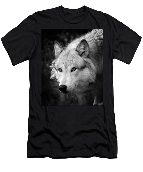 Black And White Wolf Men's T-Shirt (Slim Fit) by Steve McKinzie