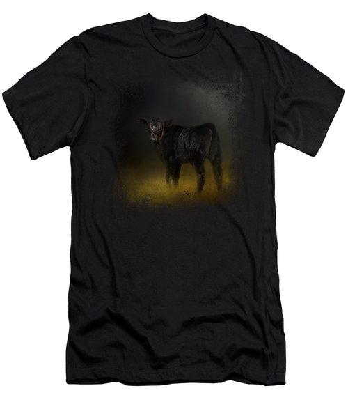 Black Angus Calf In The Moonlight Men's T-Shirt (Slim Fit) by Jai Johnson