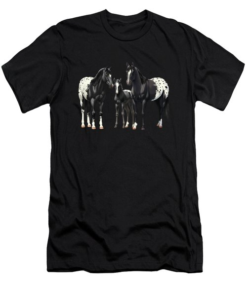 Black Appaloosa Horses In Winter Pasture Men's T-Shirt (Athletic Fit)