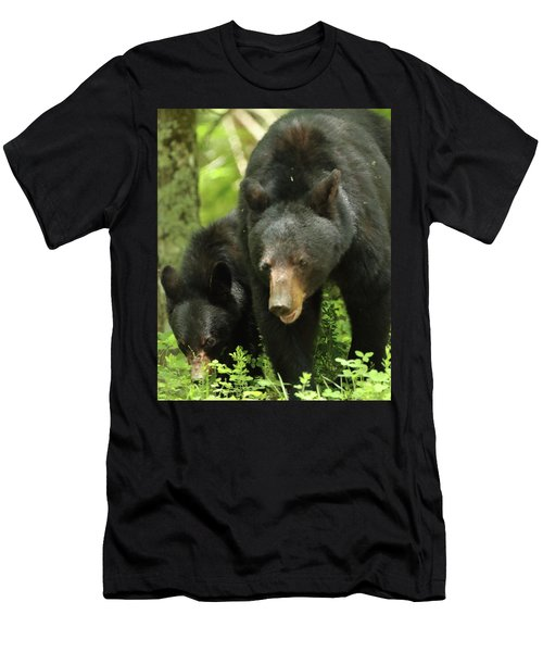Men's T-Shirt (Slim Fit) featuring the photograph Black Bear And Cub On Ground by Coby Cooper