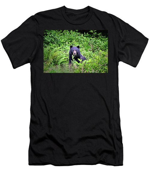 Black Bear Eating His Veggies Men's T-Shirt (Athletic Fit)