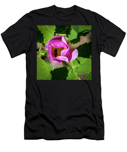 Men's T-Shirt (Slim Fit) featuring the photograph Black Bee Collecting Pollen by Darcy Michaelchuk