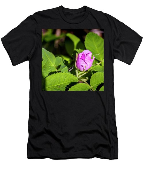 Men's T-Shirt (Slim Fit) featuring the photograph Black Bee On Approach by Darcy Michaelchuk