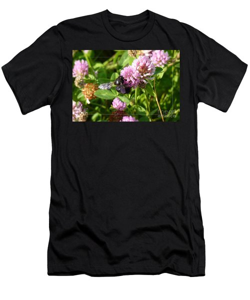 Black Bee On Small Purple Flower Men's T-Shirt (Athletic Fit)