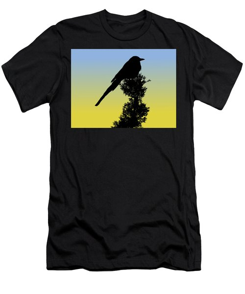 Black-billed Magpie Silhouette At Sunrise Men's T-Shirt (Athletic Fit)