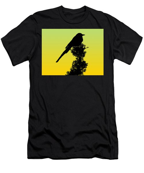 Black-billed Magpie Silhouette - Special Request Background Men's T-Shirt (Athletic Fit)