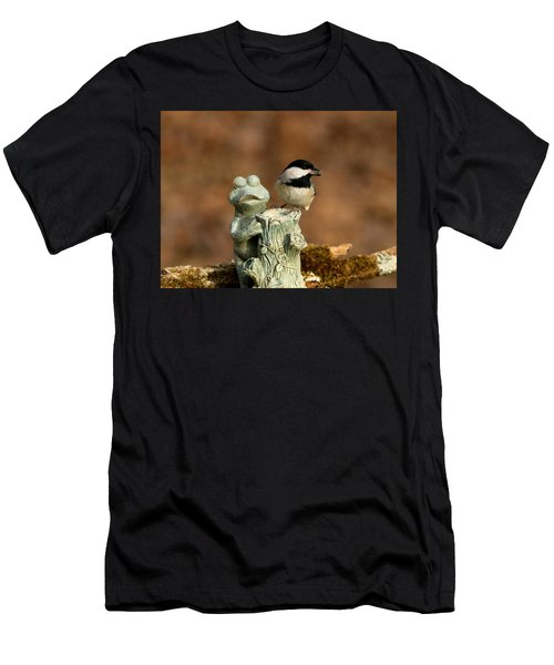 Black-capped Chickadee And Frog Men's T-Shirt (Athletic Fit)