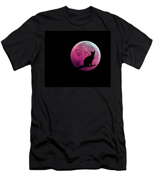 Men's T-Shirt (Athletic Fit) featuring the digital art Black Cat And Pink Full Moon by Marianna Mills