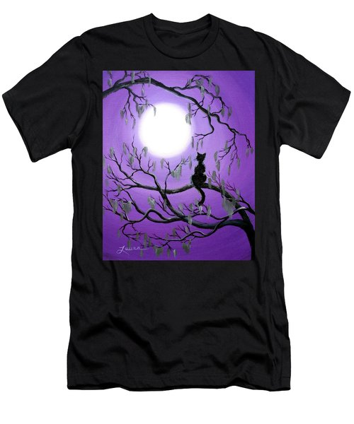 Black Cat In Mossy Tree Men's T-Shirt (Athletic Fit)