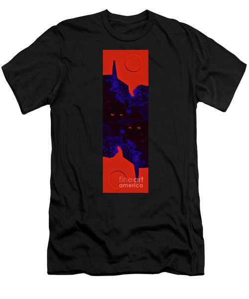Black Cat Under A Blood Red Moon Men's T-Shirt (Athletic Fit)