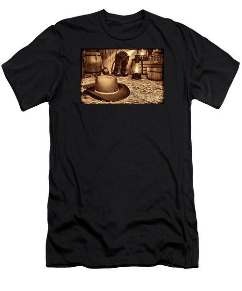 Black Cowboy Hat In An Old Barn Men's T-Shirt (Athletic Fit)