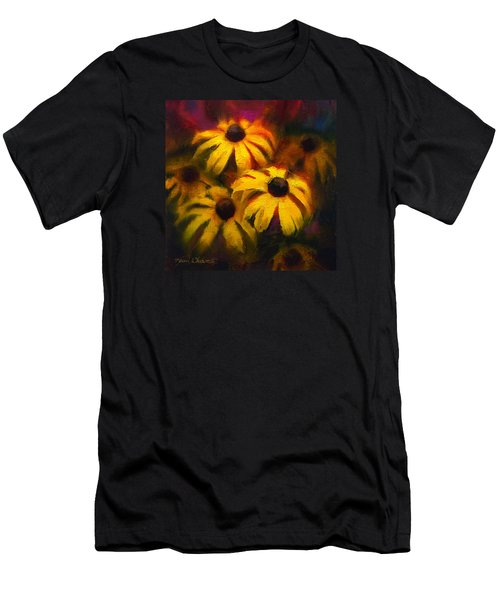 Men's T-Shirt (Slim Fit) featuring the painting Black Eyed Susans - Vibrant Flowers by Karen Whitworth