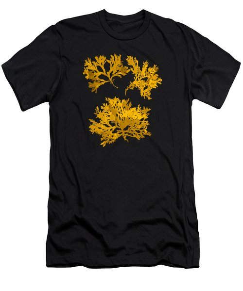 Men's T-Shirt (Slim Fit) featuring the mixed media Black Gold Leaf Pattern by Christina Rollo