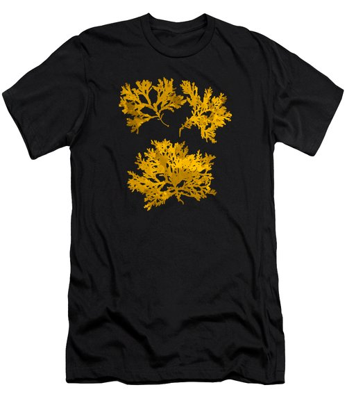 Black And Gold Leaf Pattern Men's T-Shirt (Athletic Fit)