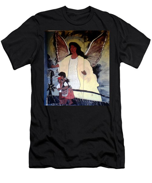 Black Guardian Angel Mural Men's T-Shirt (Athletic Fit)