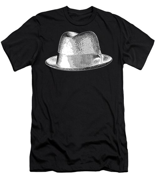 Black Hat T-shirt White Men's T-Shirt (Athletic Fit)