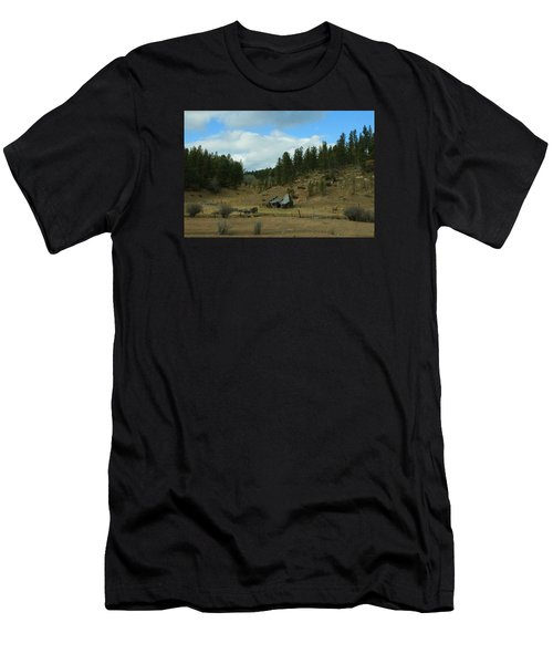 Black Hills Broken Down Cabin Men's T-Shirt (Slim Fit) by Christopher Kirby