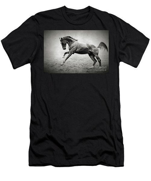 Black Horse In Dust Men's T-Shirt (Athletic Fit)