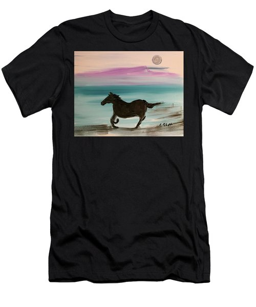 Black Horse With Moon Men's T-Shirt (Athletic Fit)