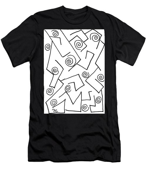 Black Ink Abstract Men's T-Shirt (Slim Fit) by Patricia Cleasby