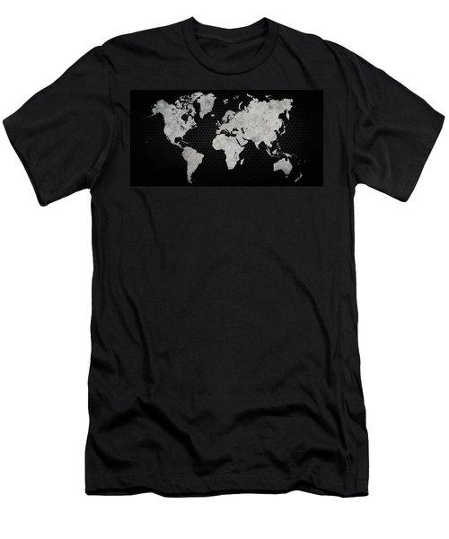 Men's T-Shirt (Slim Fit) featuring the digital art Black Metal Industrial World Map by Douglas Pittman