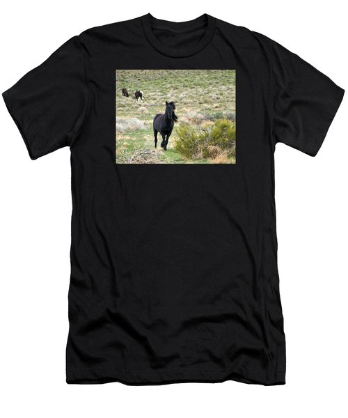 Black Mustang Stallion Running Men's T-Shirt (Athletic Fit)