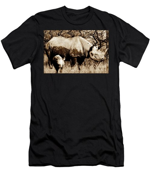 Black Rhino And Youngster Men's T-Shirt (Athletic Fit)