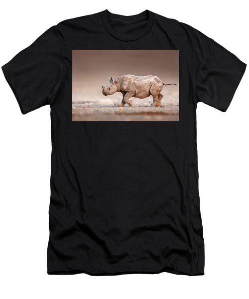 Black Rhinoceros Baby Running Men's T-Shirt (Athletic Fit)