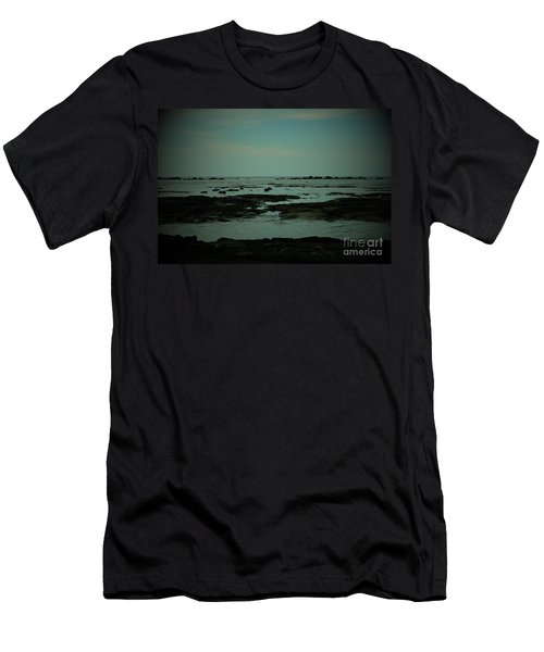 Black Rock Beach Men's T-Shirt (Slim Fit) by Mini Arora