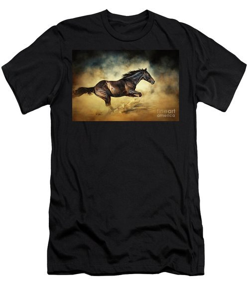 Black Stallion Horse Galloping Like A Devil Men's T-Shirt (Athletic Fit)