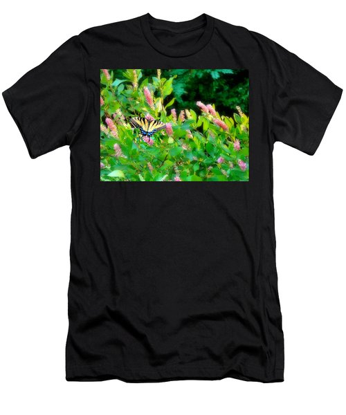 Men's T-Shirt (Athletic Fit) featuring the photograph Black Swallowtail by EDi by Darlene
