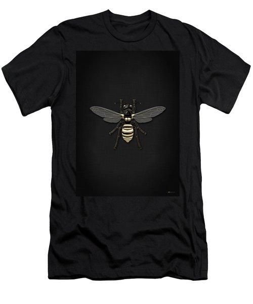 Black Wasp With Gold Accents On Black  Men's T-Shirt (Slim Fit) by Serge Averbukh