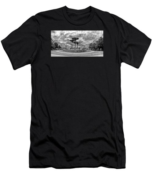 Black White Panorama Of Texas Christian University Campus Commons And Frog Fountain - Fort Worth  Men's T-Shirt (Athletic Fit)