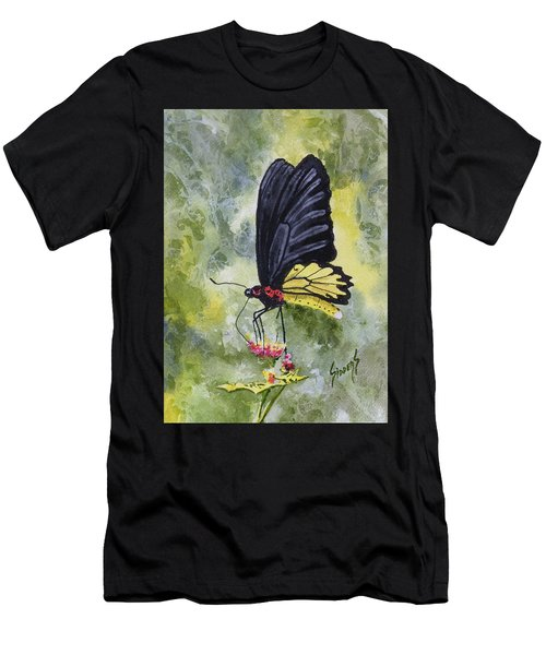 Men's T-Shirt (Athletic Fit) featuring the painting Black Winged Yellow Fellow by Sam Sidders
