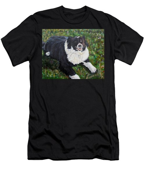 Men's T-Shirt (Slim Fit) featuring the painting Blackie by Marilyn  McNish