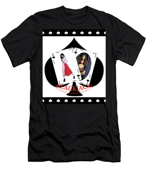 Black Jack Spades Men's T-Shirt (Athletic Fit)