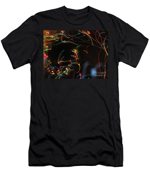Men's T-Shirt (Slim Fit) featuring the photograph Blizzard Of Colorful Lights. Dancing Lights Series by Ausra Huntington nee Paulauskaite