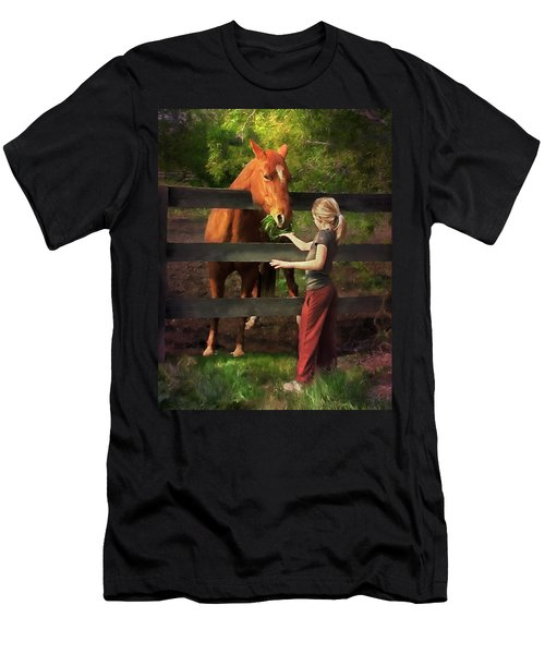 Blond With Horse Men's T-Shirt (Athletic Fit)