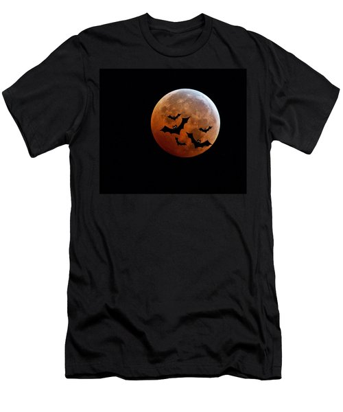 Men's T-Shirt (Athletic Fit) featuring the photograph Blood Full Moon And Bats by Marianna Mills