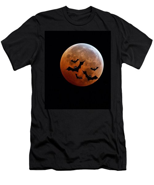 Blood Full Moon And Bats Men's T-Shirt (Athletic Fit)
