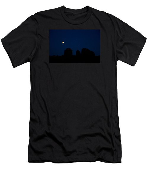 Men's T-Shirt (Slim Fit) featuring the photograph Blood Moon Over Cathedral by Tom Kelly