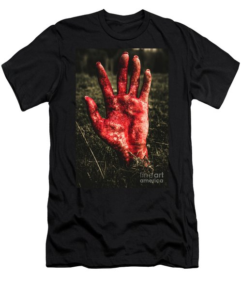 Blood Stained Hand Coming Out Of The Ground At Night Men's T-Shirt (Athletic Fit)