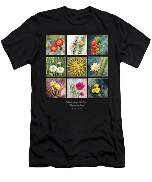 Men's T-Shirt (Slim Fit) featuring the painting Blooming Cactus by Marilyn Smith