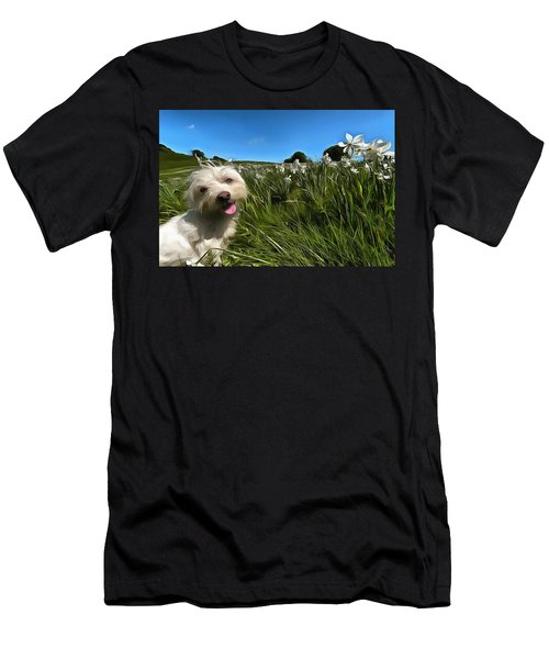 Blooming Daffodils In The Antola Park With Maltese II Paint Men's T-Shirt (Athletic Fit)