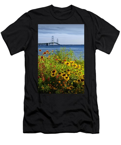 Blooming Flowers By The Bridge At The Straits Of Mackinac Men's T-Shirt (Athletic Fit)
