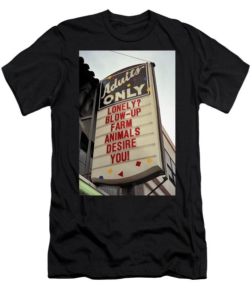 Men's T-Shirt (Athletic Fit) featuring the photograph Blowup Farm Animals Sign by Frank DiMarco