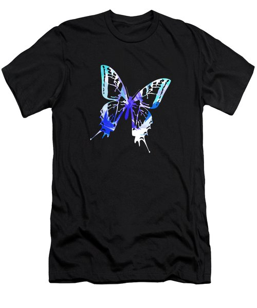 Blue Abstract Paint Pattern Men's T-Shirt (Athletic Fit)